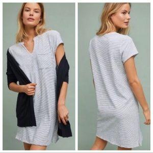 Anthro Cloth & Stone Dorsey Striped Dress White
